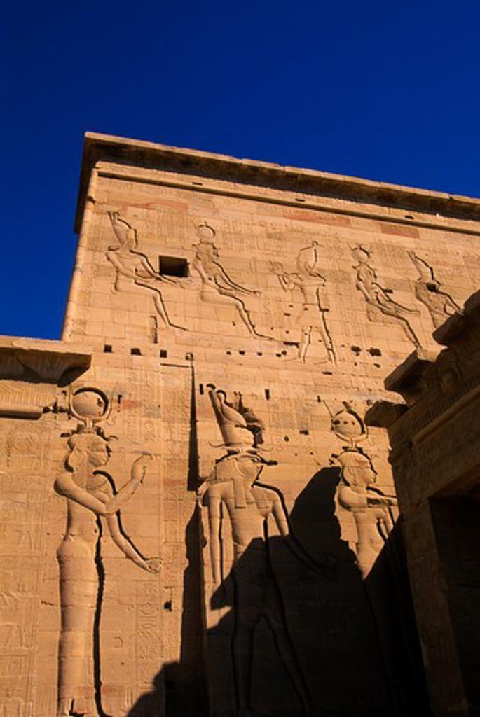 EGYPT, ASWAN, NILE RIVER, AGILKIA ISLAND, PHILAE, TEMPLE OF ISIS, ISIS, HORUS, AND HATHOR : Stock Photo