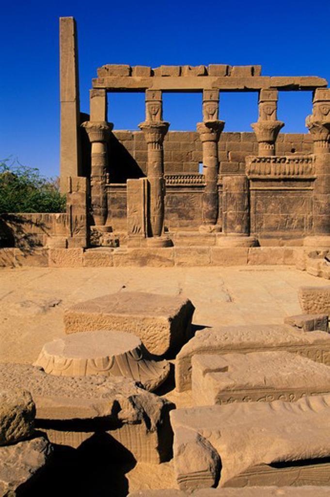 EGYPT, ASWAN, NILE RIVER, AGILKIA ISLAND, PHILAE, TEMPLE OF NECTANEBO : Stock Photo