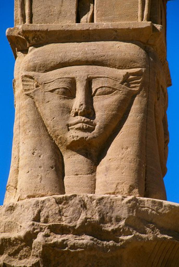 Stock Photo: 4163-7259 EGYPT, ASWAN, NILE RIVER, AGILKIA ISLAND, PHILAE, TEMPLE OF NECTANEBO, CAPITAL, HATHOR