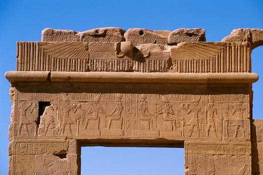 EGYPT, ASWAN, NILE RIVER, AGILKIA ISLAND, PHILAE, GATE WITH RELIEF CARVINGS : Stock Photo