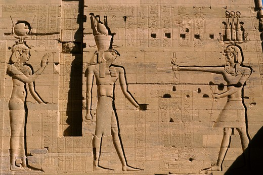 Stock Photo: 4163-7262 EGYPT, ASWAN, NILE RIVER, AGILKIA ISLAND, PHILAE, SECOND PYLON, OFFERING TO HORUS