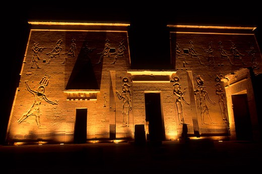 EGYPT, ASWAN, NILE RIVER, AGILKIA ISLAND, PHILAE, TEMPLE OF ISIS, FIRST PYLON : Stock Photo
