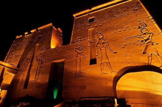 Stock Photo: 4163-7265 EGYPT, ASWAN, NILE RIVER, AGILKIA ISLAND, PHILAE, TEMPLE OF ISIS, SECOND PYLON, AT NIGHT