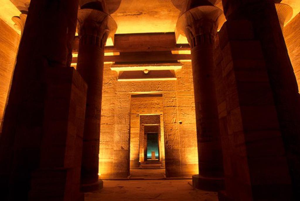 EGYPT, ASWAN, NILE RIVER, AGILKIA ISLAND, PHILAE, TEMPLE OF ISIS, INTERIOR : Stock Photo