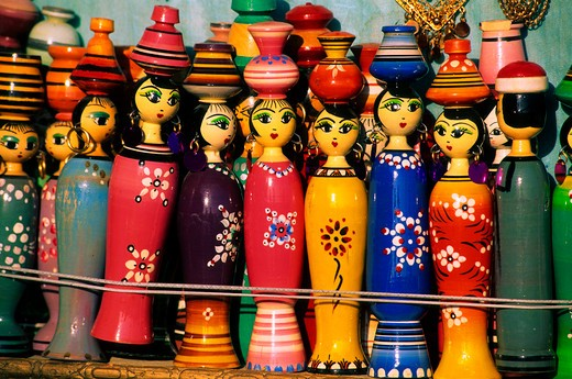 EGYPT, NILE RIVER, ESNA, STREET SCENE, COLORFUL DOLLS : Stock Photo