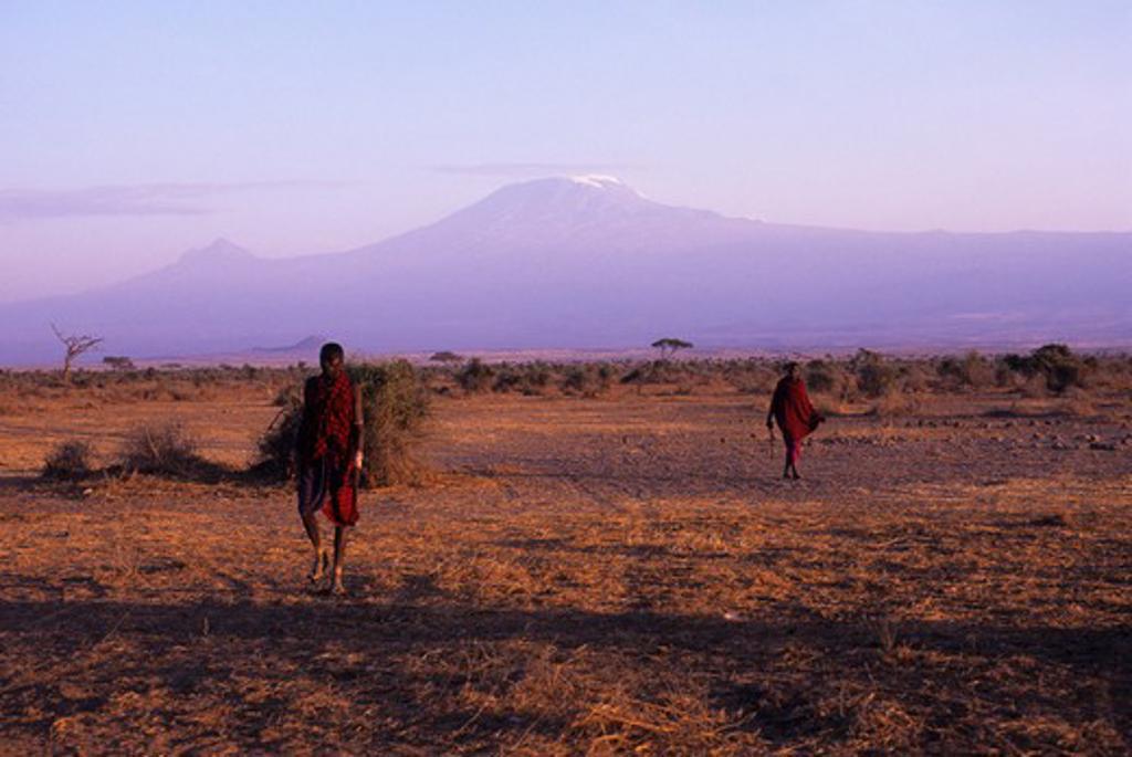 Stock Photo: 4163-7850 KENYA, AMBOSELI, MASAI MEN, MT. KILIMANJARO IN BACKGROUND