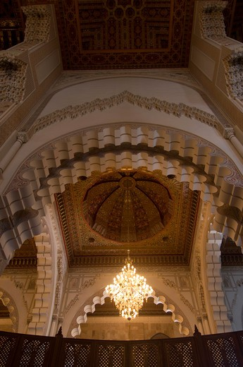 MOROCCO, CASABLANCA, HASSAN II MOSQUE, INTERIOR, CEILING : Stock Photo