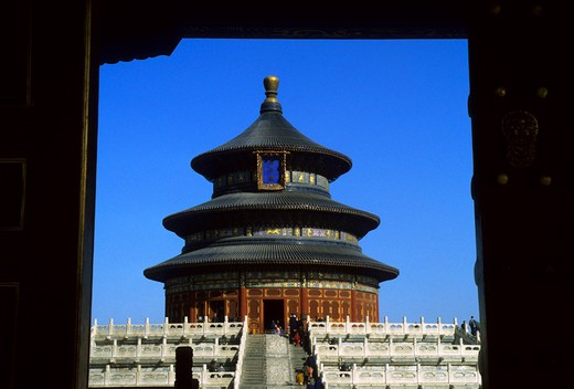 Stock Photo: 4163-9550 CHINA, BEIJING, TEMPLE OF HEAVEN, ART & ARCHITECTURE, HALL OF PRAYER FOR GOOD HARVESTS