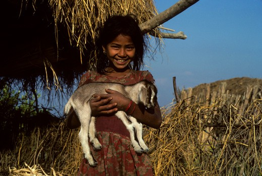 Stock Photo: 4163-9620 NEPAL, GIRL CARRYING A YOUNG GOAT