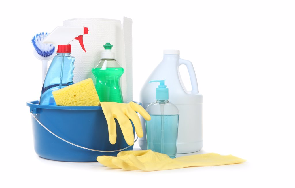 Many Useful Household Daily Cleaning Products on White Background : Stock Photo