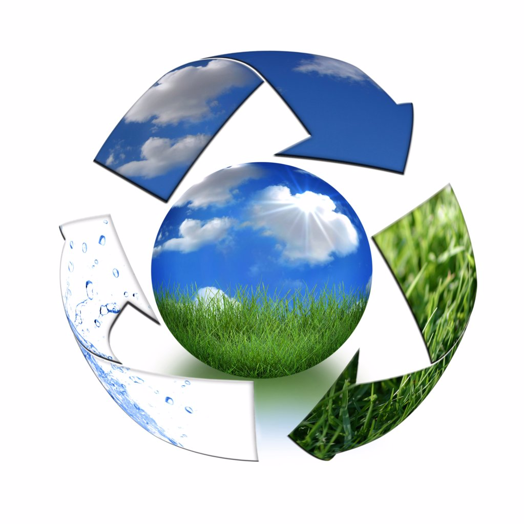 Stock Photo: 4165R-2364 Abstract Recycling Symbol Representing Air, Land and Sea Surrounding Planet Earth