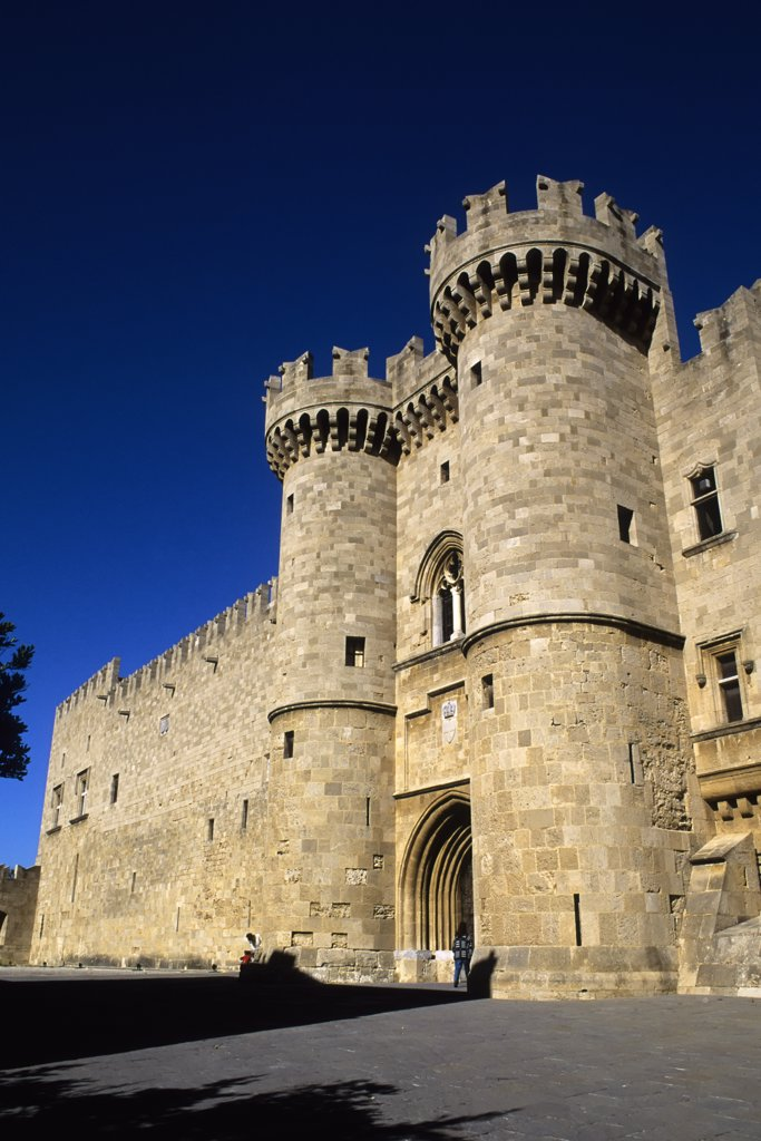Stock Photo: 4168-10031 Greece, Rhodes, Palace Of The Grand Master, Tower Flanked Entrance