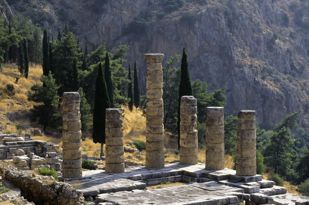 Greece, Delphi, Sanctuary Of Apollo, Temple Of Apollo, Cypress And Pine Trees : Stock Photo