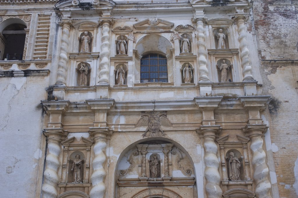 Stock Photo: 4168-10536 Guatemala, Highlands, Antigua, San Francisco Church, Detail Of Architecture