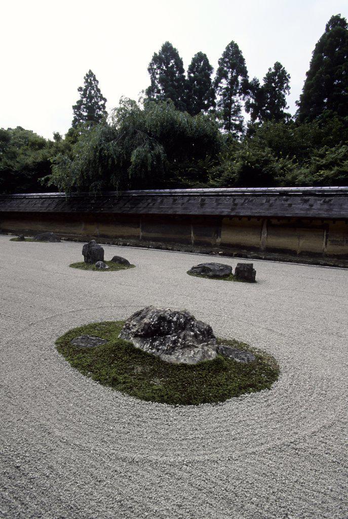 Stock Photo: 4168-10711 Japan, Kyoto, Ryoanji Garden, Zen Buddhism Rock Garden