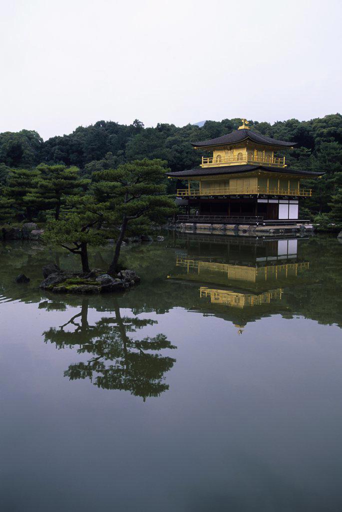 Stock Photo: 4168-10715 Japan, Kyoto, Kinkakuji Temple, Golden Pavilion, Reflecting In Pond