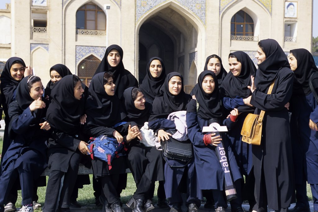 Iran, Esfahan, Eman Khomeni Square, (Royal Square), Female Students With Manteaux : Stock Photo