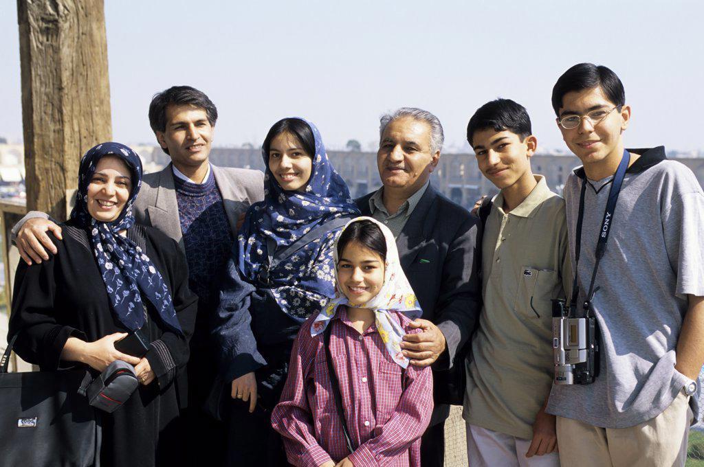 Stock Photo: 4168-10740 Iran, Esfahan, Eman Khomeni Square, (Royal Square), Iranian Family