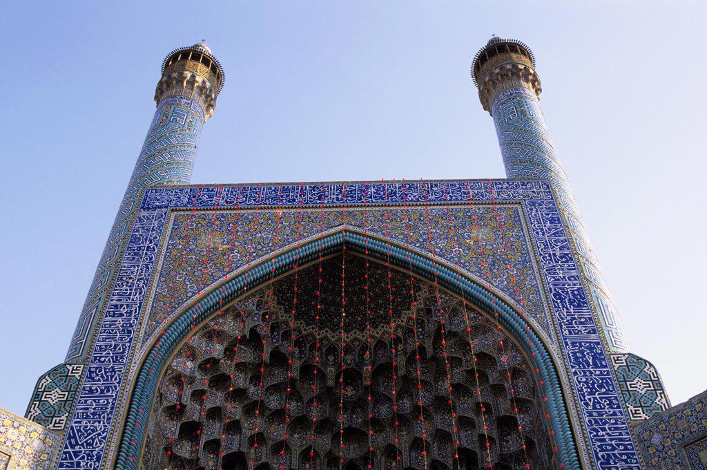 Iran, Esfahan, Eman Khomeni Square, Imam (Masjed-E Emam) Mosque, Gateway, Minarets : Stock Photo