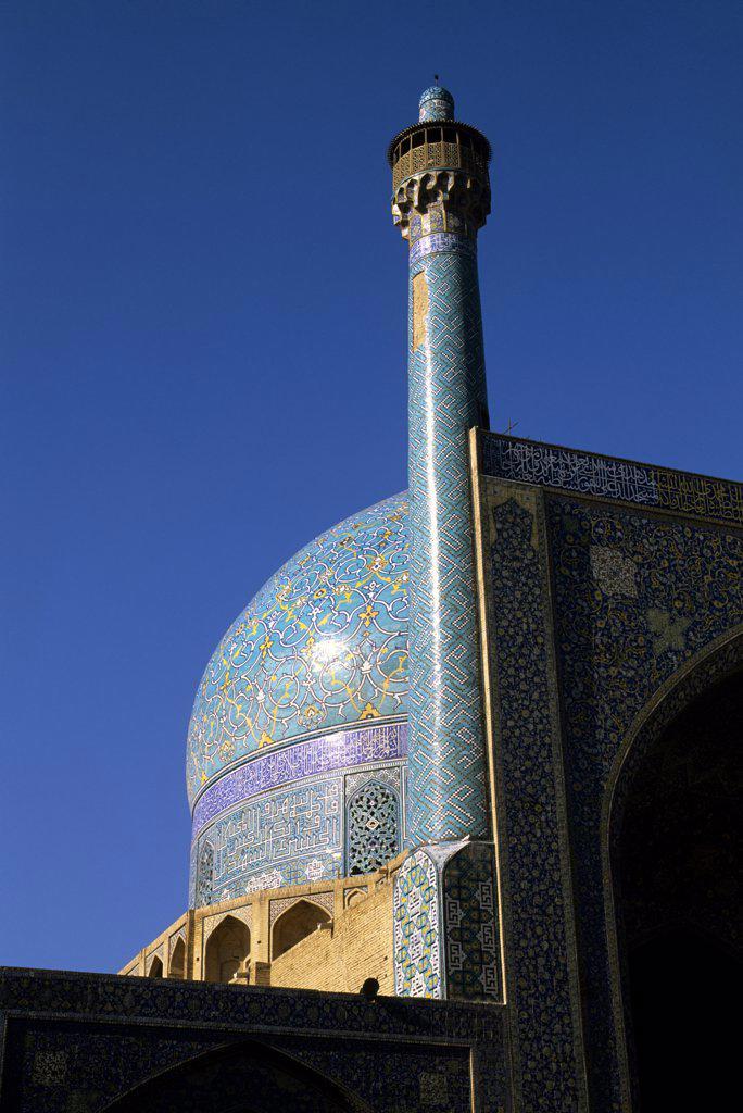 Iran, Esfahan, Eman Khomeni Square, Imam (Masjed-E Emam) Mosque, Minaret : Stock Photo