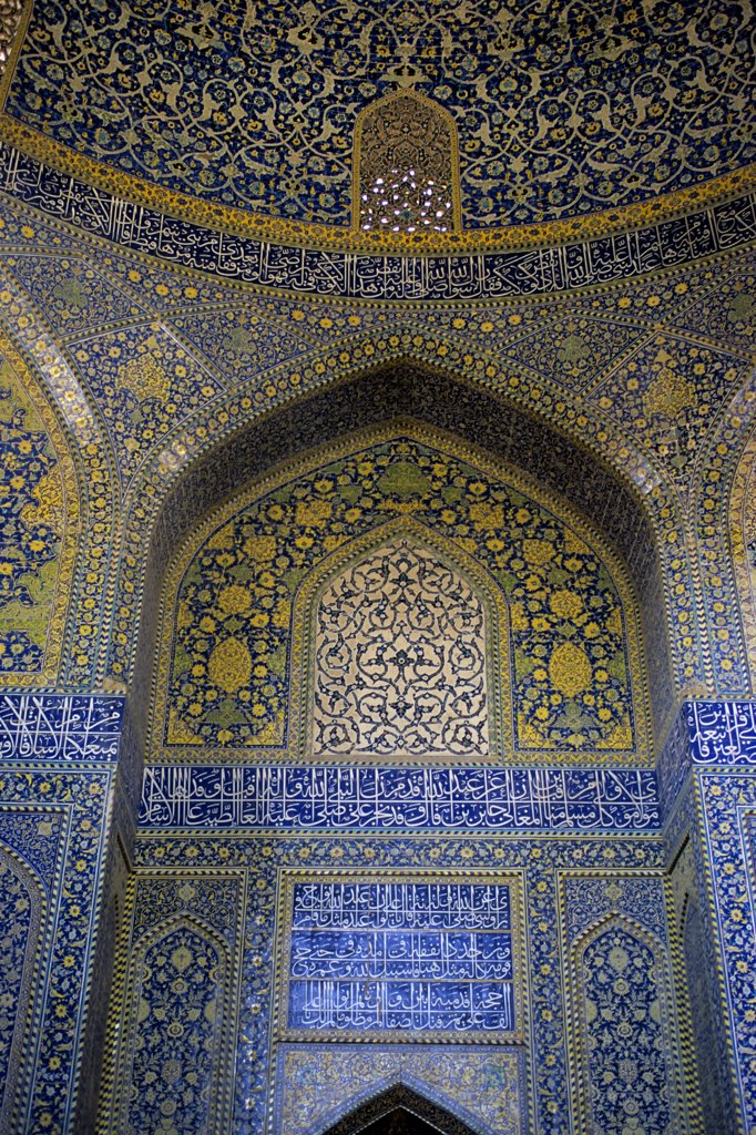 Stock Photo: 4168-10756 Iran, Esfahan, Eman Khomeni Square, Imam (Masjed-E Emam) Mosque, Interior