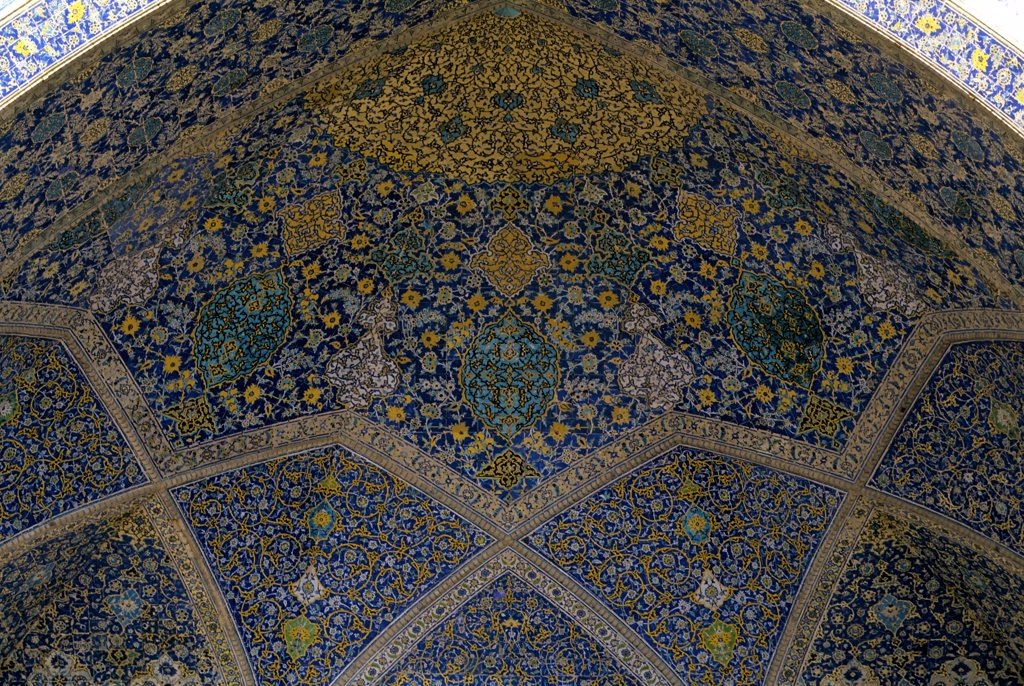 Iran, Esfahan, Eman Khomeni Square, Imam (Masjed-E Emam) Mosque, Detail, Tiles : Stock Photo