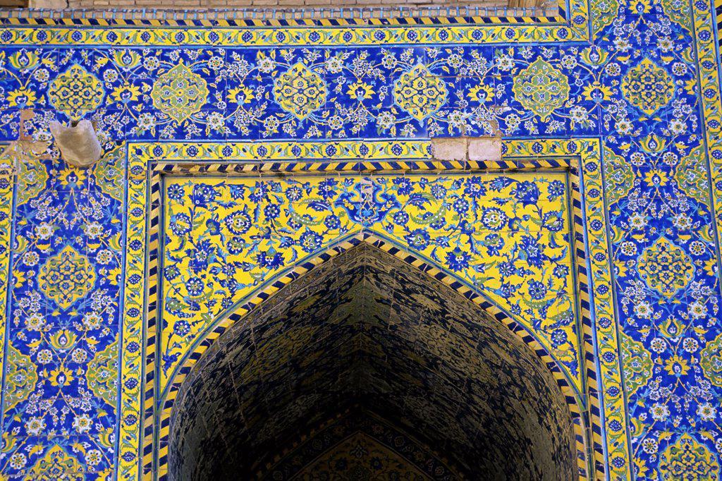 Iran, Esfahan, Eman Khomeni Square, Imam (Masjed-E Emam) Mosque, Tilework : Stock Photo