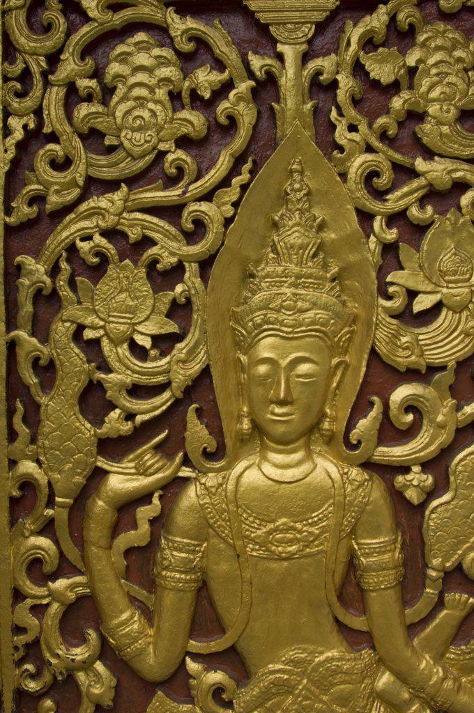 Laos, Luang Prabang, Vat Aham, Golden Door, Detail : Stock Photo