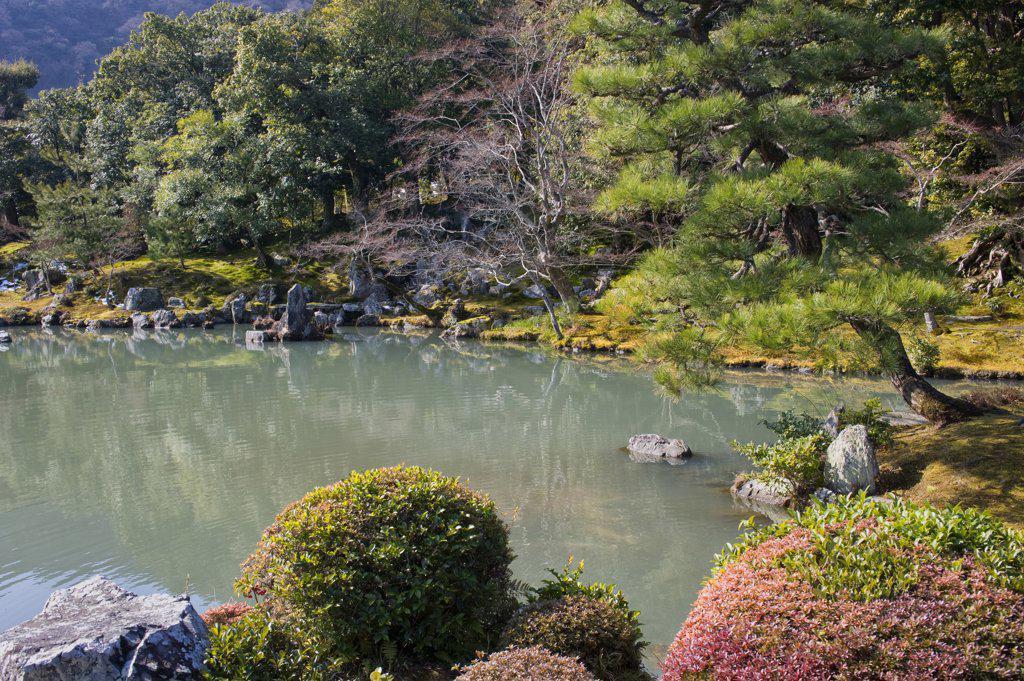 Stock Photo: 4168-10875 Japan, Kyoto, Arashiyama, Tenryuji Temple (Buddhist), Sogen Garden, Pond