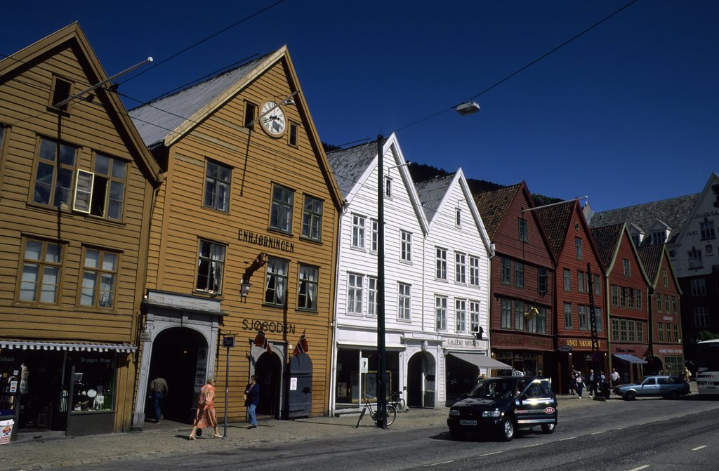 Stock Photo: 4168-10882 Norway, Bergen, Bryggen District With Historic Wooden Houses From Hanseatic Period
