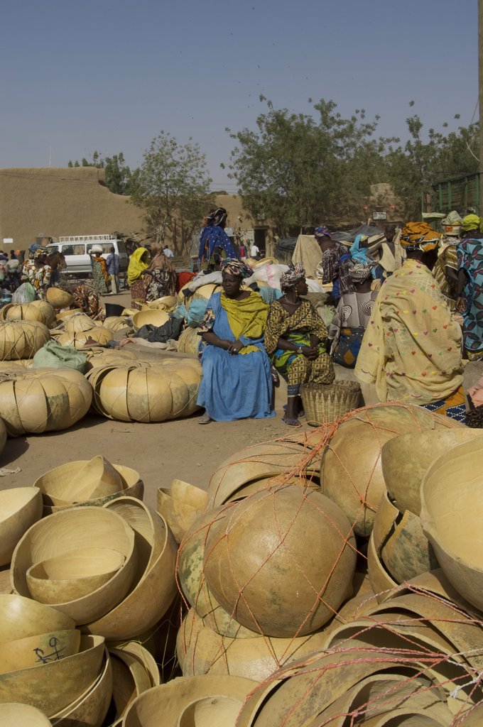 Stock Photo: 4168-11234 Mali, Djenne, Weekly Market With Women Selling Calabashes