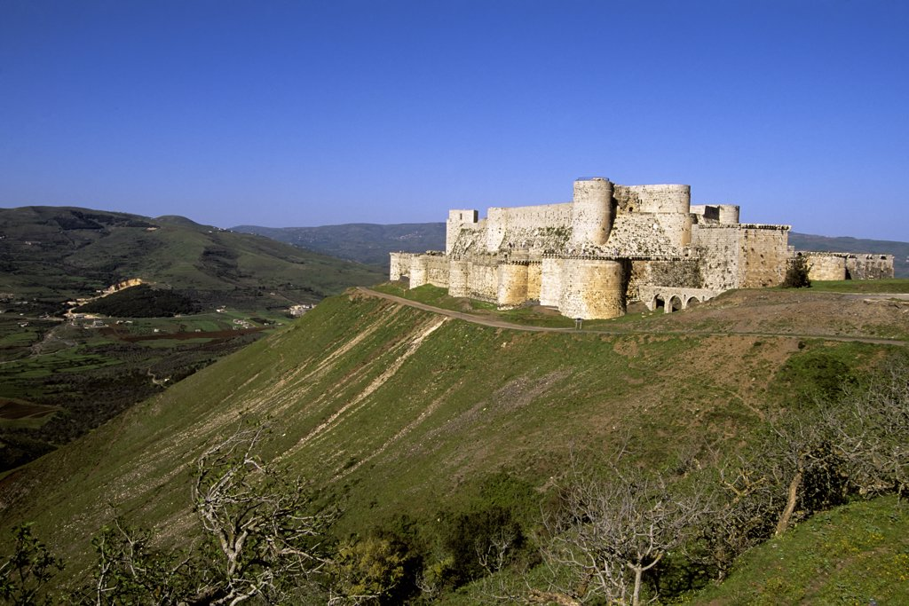 Syria, Near Homs, Central Syria, View Of Crac Des Chevaliers, Castle Of The Knights, Crusaders : Stock Photo