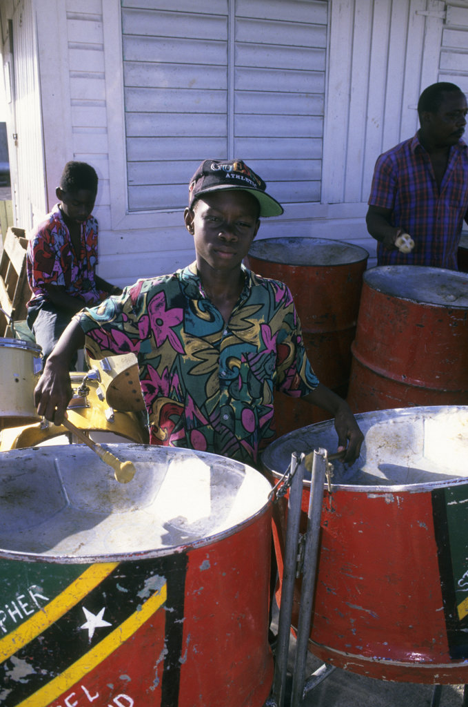 Stock Photo: 4168-11384 St. Kitts, Basseterre, Steel Band, Boy (11 Yrs Old)