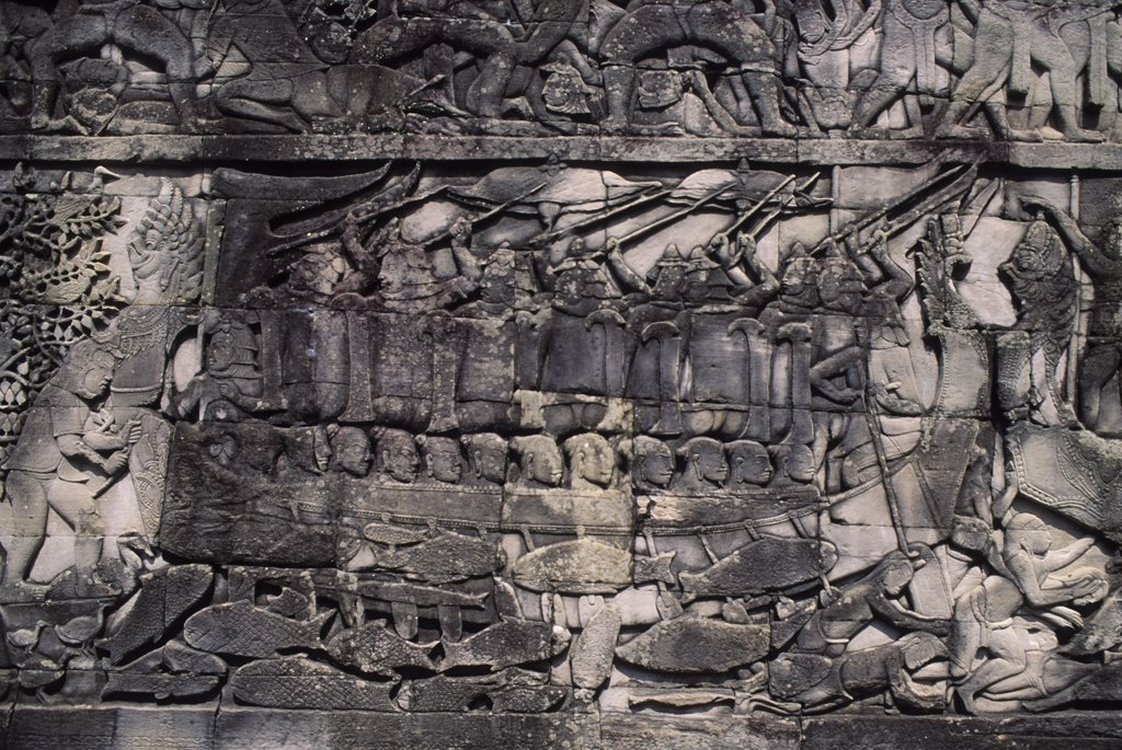 Cambodia, Angkor, Angkor Thom, Bayon Temple, Gallery With Bas-Reliefs : Stock Photo