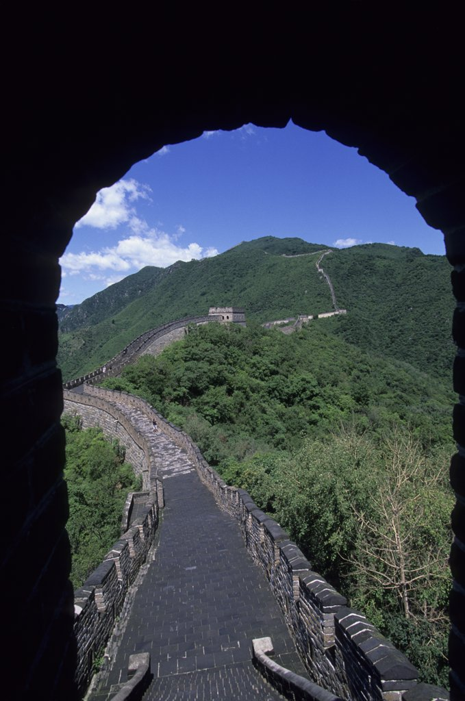Stock Photo: 4168-11609 China, Near Beijing, Great Wall At Mutianyu, Tower, Archway