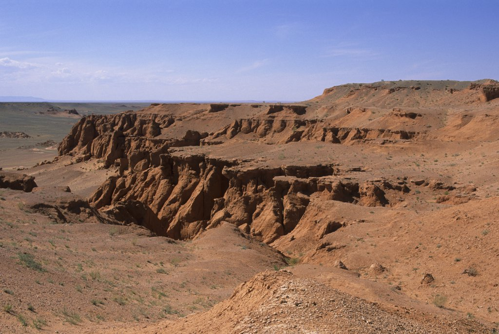Stock Photo: 4168-11684 Mongolia,  Near Dalanzadgad, Gobi Desert, Bayanzag, Flaming Cliffs, Dinosaur Fossil Site