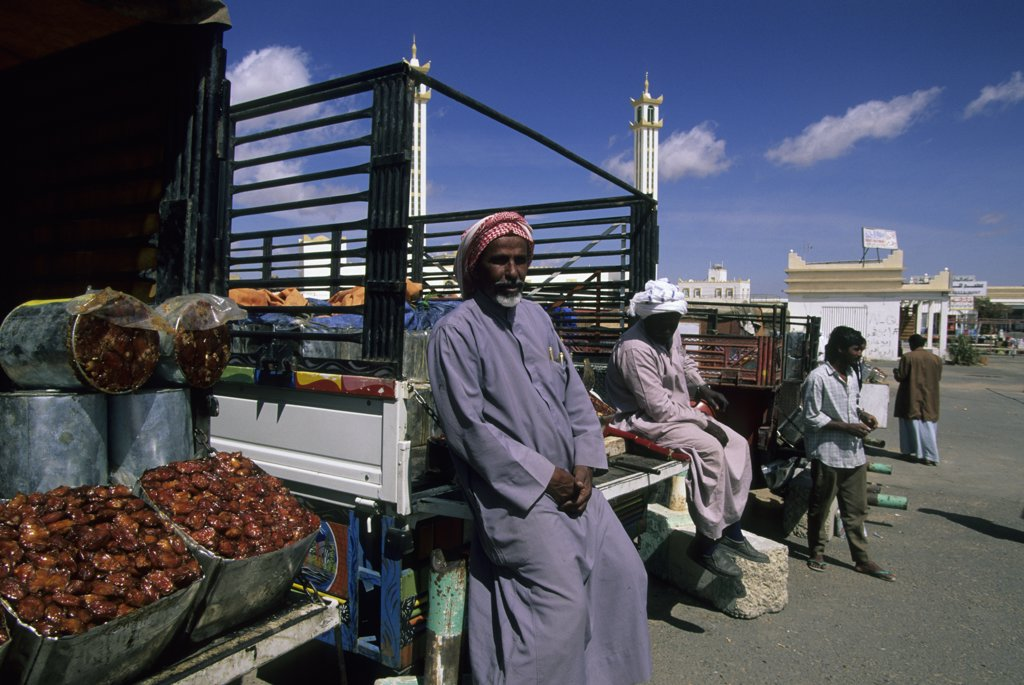 Saudi Arabia, Near Abha, Al Wadijan, Friday Market, Farmer Selling Dates : Stock Photo