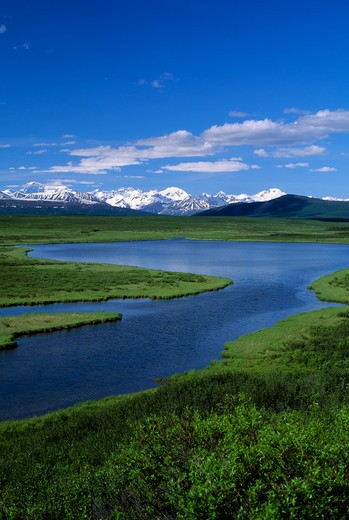 USA, ALASKA, DENALI HIGHWAY, MT.DEBORAH, HESS MOUNTAIN, & MT. HAYES : Stock Photo