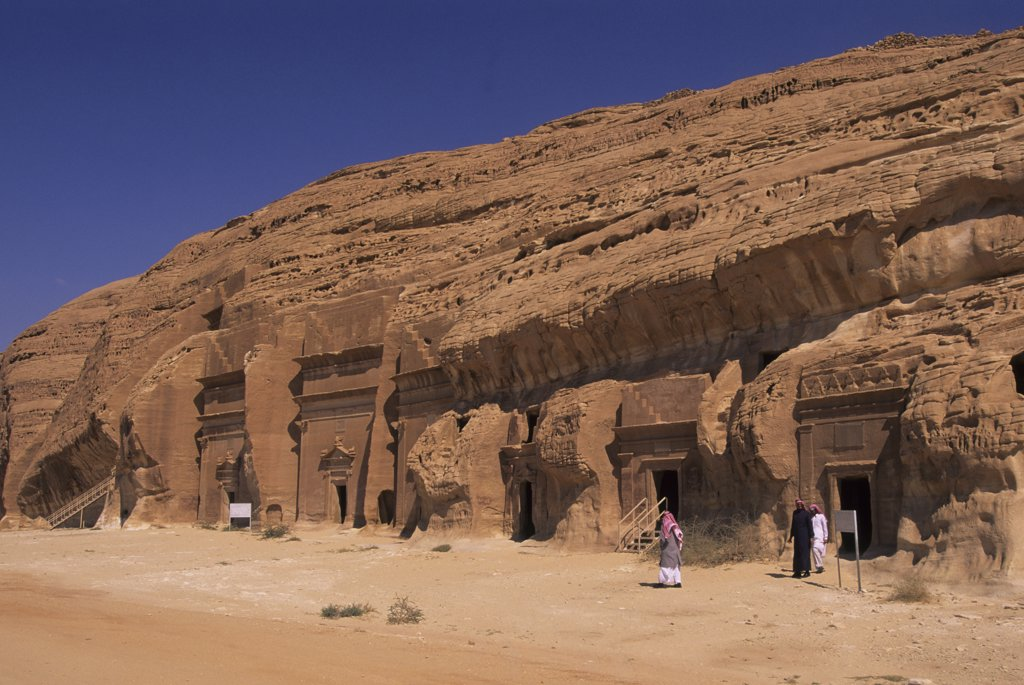 Stock Photo: 4168-12312 Saudi Arabia, Madain Saleh, Nabataeans Tombs (100 B.C. To 76 A.D.), Saudi Men