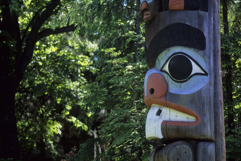 Stock Photo: 4168-12465 Canada, Bc, Vancouver Island, Victoria, Royal British Columbia Museum, Totem Pole