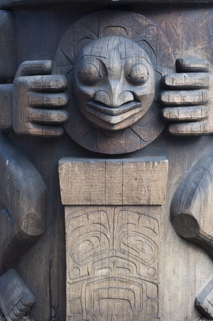 Stock Photo: 4168-12661 Usa, Washington State, Seattle, Occidental Park, Detail Of Totem Pole