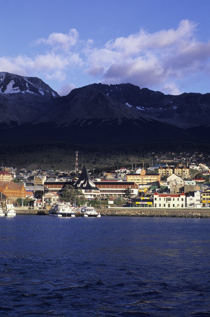 Stock Photo: 4168-12795 Argentina, Tierra Del Fuego, Ushuaia, Most Southern Town, View From Beagle Channel
