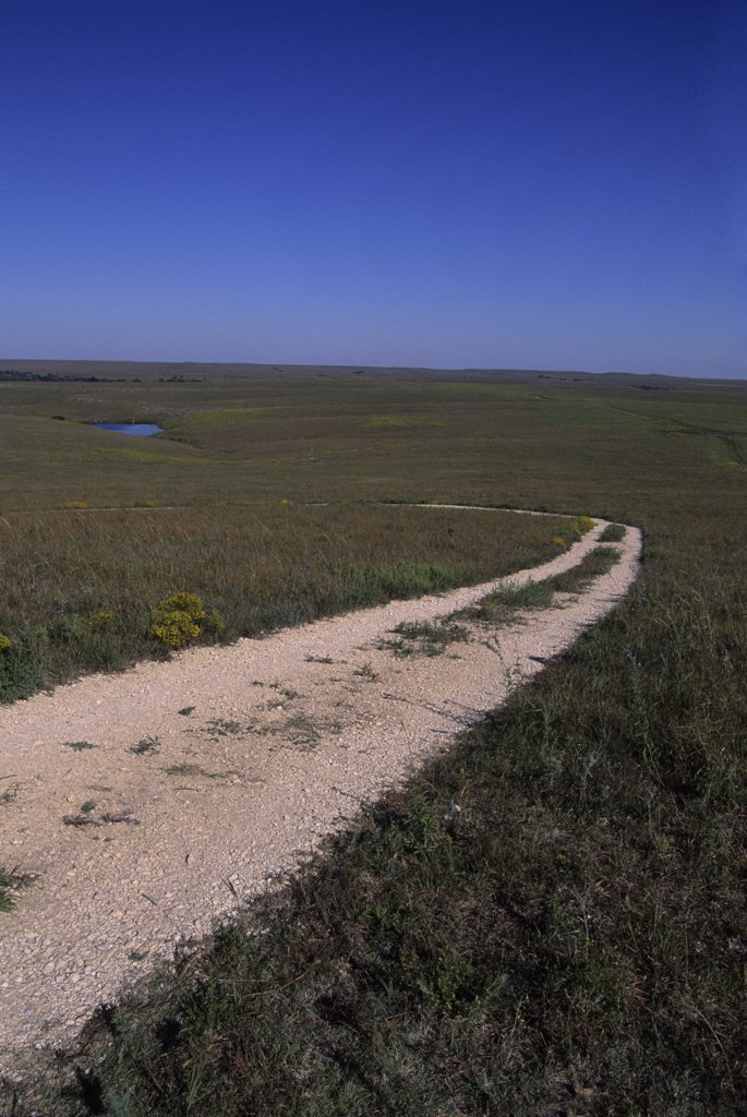 Stock Photo: 4168-13010 USA, Kansas, Flint Hills, Near Strong City, Tallgrass Prairie National Preserve, Road