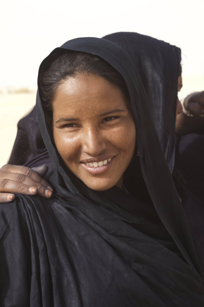 Mali, Near Timbuktu, Sahara Desert, Tuareg Woman, Portrait : Stock Photo