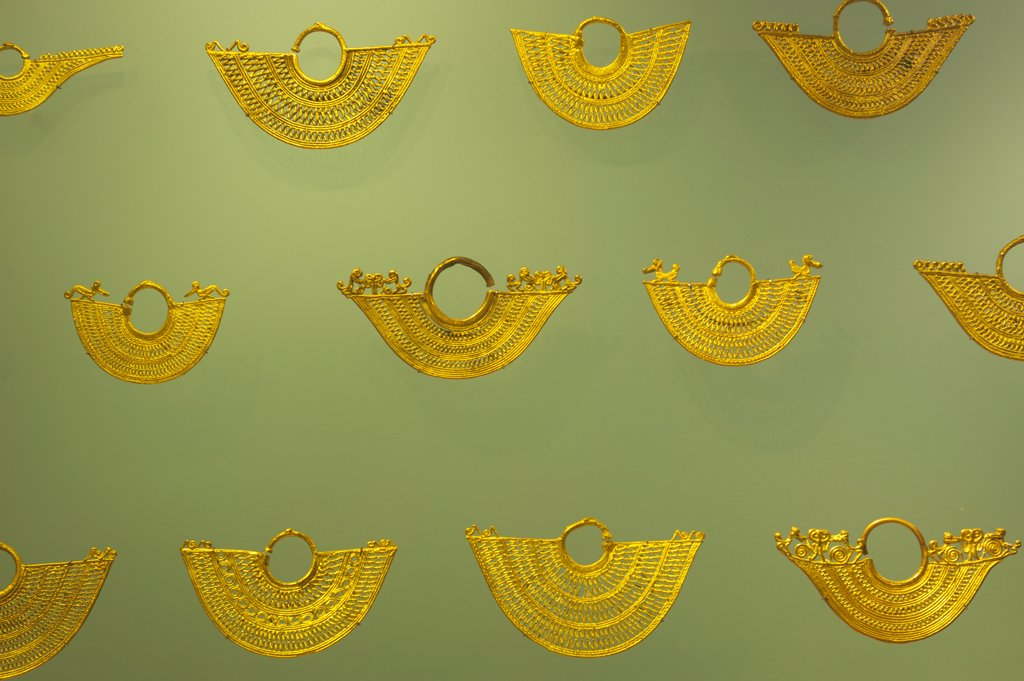 Stock Photo: 4168-13217 Golden Filigree Earrings From Tradicion Zenu Tribe In The Gold Museum In La Candelaria, The Old Town Of Bogota, Colombia