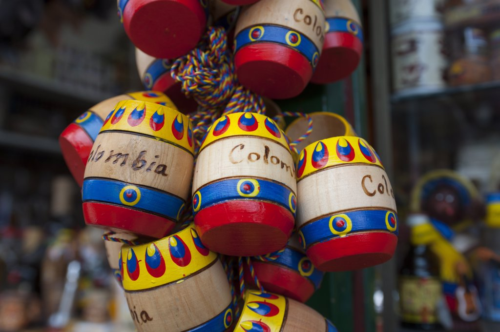 Stock Photo: 4168-13378 Colombian Souvenirs For Sale At The Pilgrim Church On Monserrate Hill, Bogota, Colombia