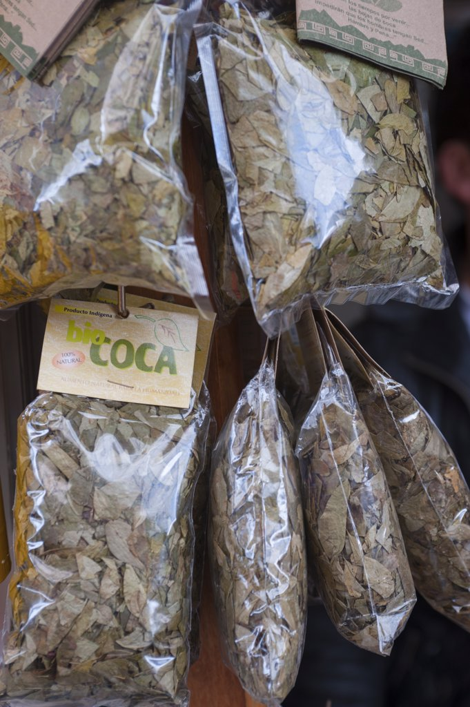 Stock Photo: 4168-13379 Coca Leaves For Sale At The Pilgrim Church On Monserrate Hill, Bogota, Colombia