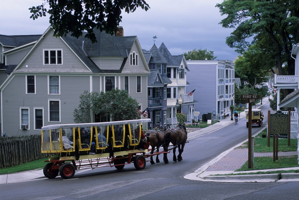 USA, Michigan, Lake Huron Mackinac Island, Village, Street Scene, Horse Cart Taxi : Stock Photo