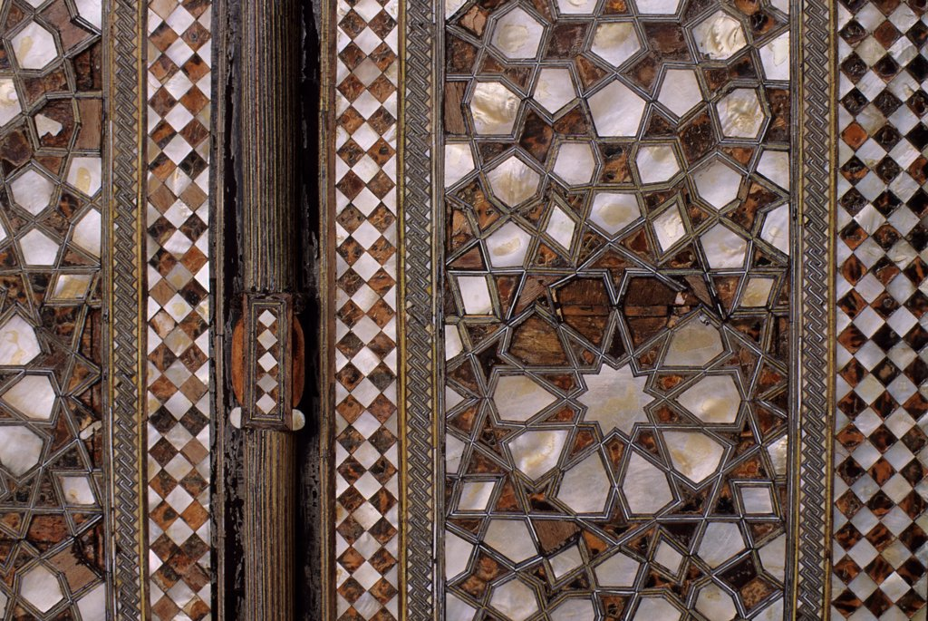 Stock Photo: 4168-13498 Turkey, Istanbul, Topkapi Palace, Mother Of Pearl Inlaid Door, Detail