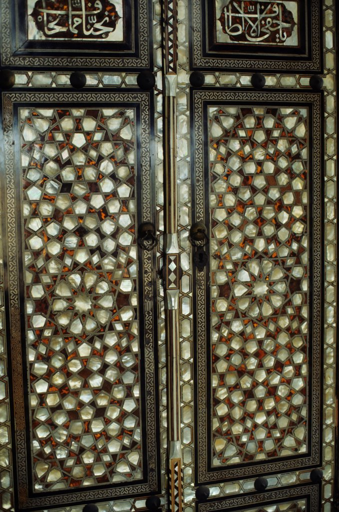 Turkey, Istanbul, Topkapi Palace, Mother Of Pearl Inlaid Door, Detail : Stock Photo